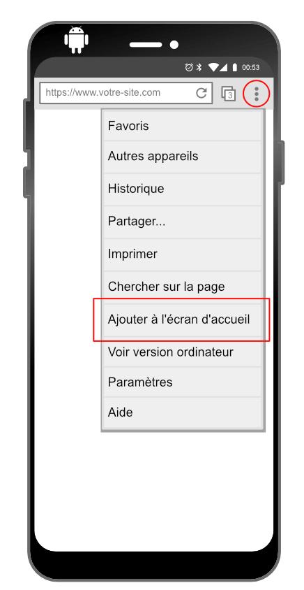 Intallation d'une progressive web app sur Android : étape 1