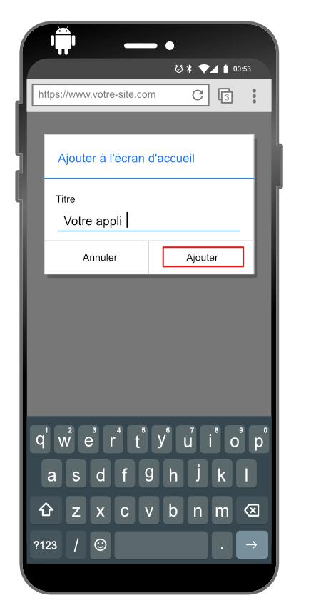 Intallation d'une progressive web app sur Android : étape 2